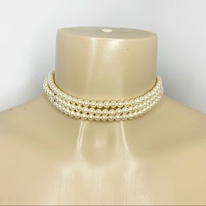 CAROLEE Layered Pearl Choker Necklace